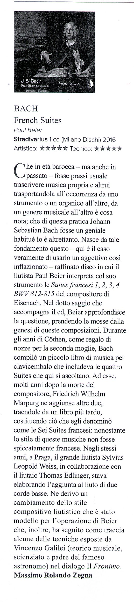 Review of Paul Beier, Bach French Suites, in Amadeus October 2017